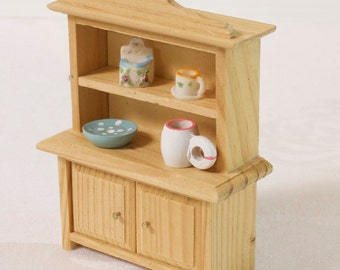 Vintage Wooden Dollhouse Kitchen cupboard  with dishes Decorated Hutch