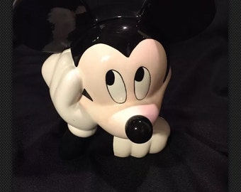 """Disney Licensed Mickey Mouse Adorable Ceramic 11"""" Cookie Jar Daydream"""
