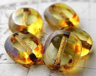 LAST ONES..Honey Picasso Czech Beads, Czech Beads, sbp.b30310