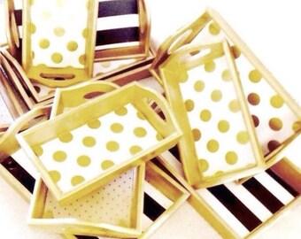 Gold Tray Black And White Striped Gold Tray Gold Polka Dot Tray Jewelry Tray Mail Tray Vanity Tray Christmas Gift