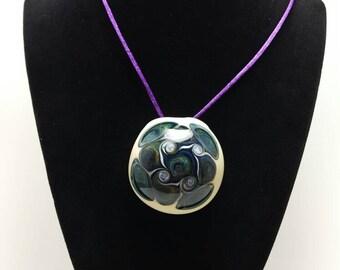 MPX Glassworks Hollow Swirl Borosilicate Glass Pendant Necklace #3