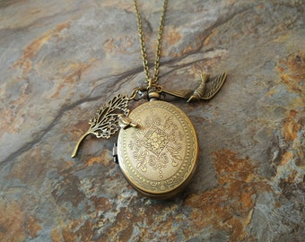 Vintage style pocket watch necklace,swallow pocket watch,floral pattern pocket watch