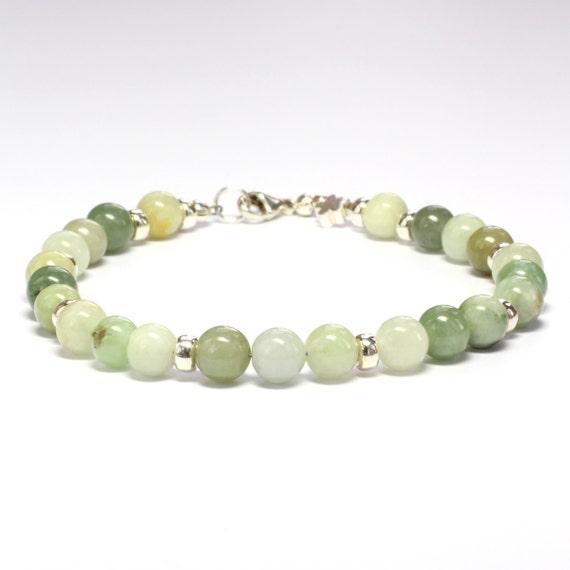 Genuine Jade Beads: Green Jade Beaded Bracelet Genuine Gemstone Bracelet Round