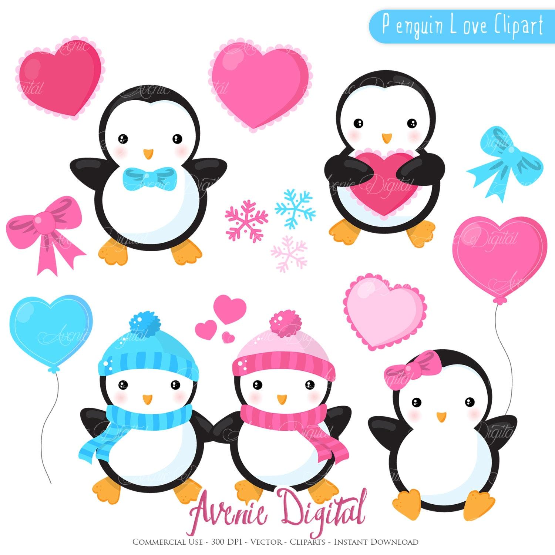 valentines penguins clipart scrapbook printables holiday clip