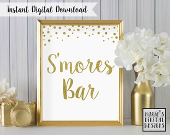INSTANT DOWNLOAD - Printable S'mores Bar Table Sign / Wedding Decor / Party / Gold / White / Sparkle / Glitter / JPEG file 5x7 8x10