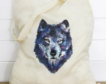 Wolf Print Cotton Tote Bag