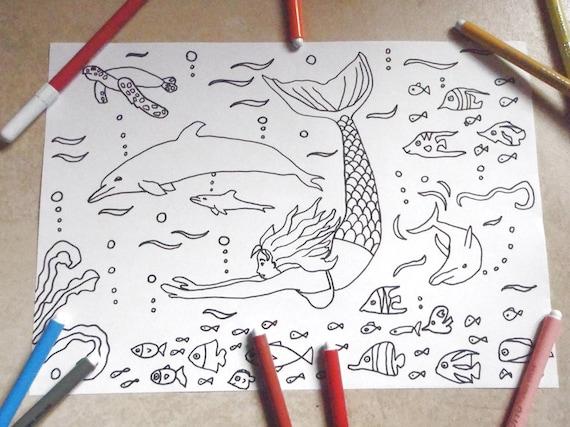 Sirena delfini mare pagina da colorare bambini pesci di mare for Pesci da stampare e colorare