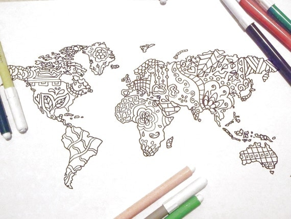 world travel map kids adult coloring book page instant