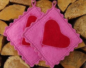 Pot holders - hot pads - felted hot pads - wool hot pads - wool potholders - set of two - set of 2 - felt gift - kitchen decor- heart