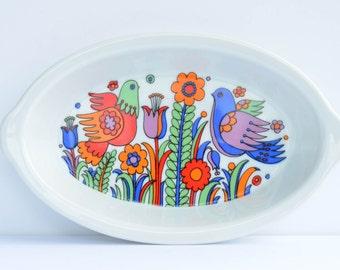 Royal Crown Porcelain Ovenware Paradise Small Vintage Dish, Baking Dish, Casserole Dish, Birds, Flowers