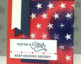 Handmade Card Encouragement Red, White, and Blue, You're a Star