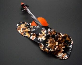 Virtuoso Satin Violin Bag - Black with Gold Flowers
