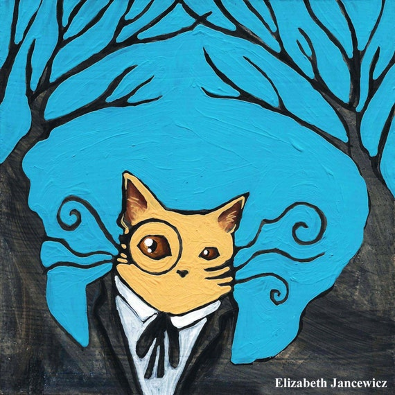 Dapper cat with monocle art print by elizabethjjancewicz for Monocle promo code
