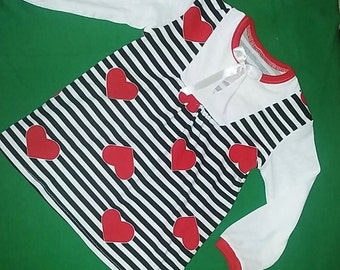 Girls cotton jersey tunic, baby top, heart top