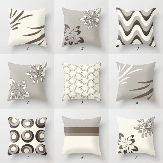 gray and white pillow brown pillow covers by designbyjuliabars. Black Bedroom Furniture Sets. Home Design Ideas