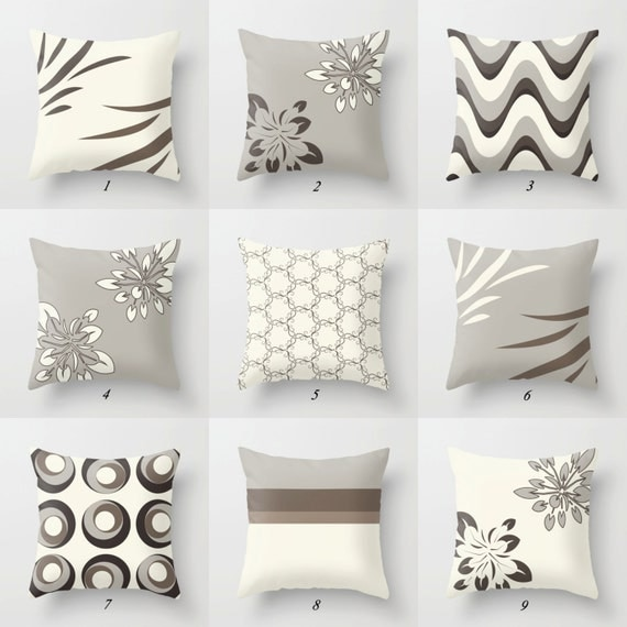Gray and white pillow brown pillow covers by designbyjuliabars for Brown and gray throw pillows