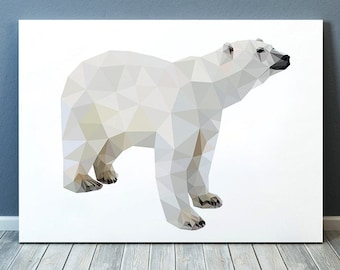 Geometric poster Polar bear print Animal art Wildlife print TOA183