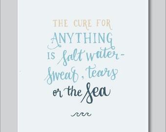 Sea & Salt Water Hand Lettered Print (8x10 digitally printed)