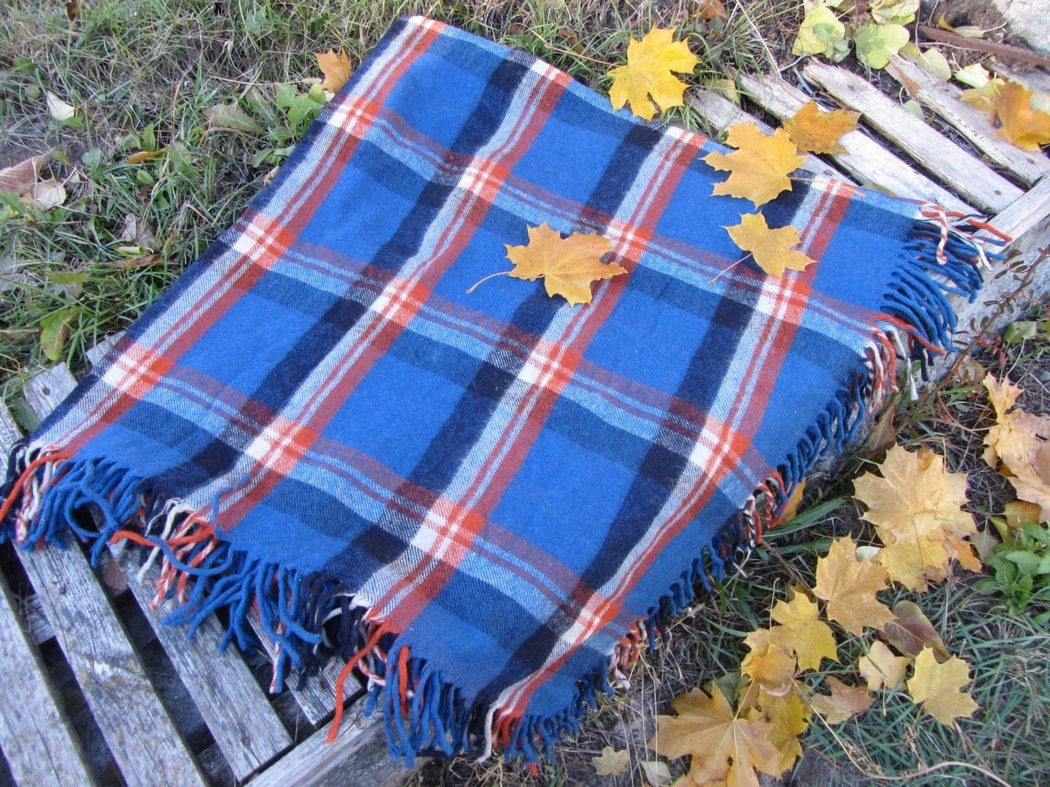 Blue, Yellow Black checkered pattern wool scarf, USSR vintage wool scarf, Warm g