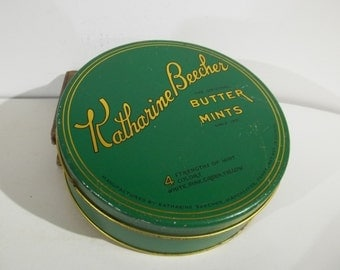 Vintage Katherine Beecher Butter Mints Tin from Manchester, Pennsylvania - FREE SHIPPING!!!