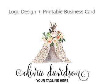 Premade Logo Design, Tepee and Watercolor Flowers Logo, Boho Chic Logo, Small Business Logo, Printable Business Card