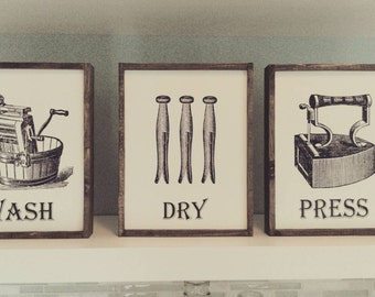 Vintage Laundry Signs Decor