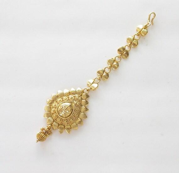 Gold Tikka/ Maang Tikka Tika Headpiece Jewelry/ By