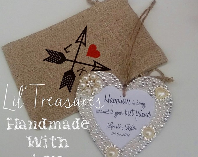 Personalised hanging heart with ANY wording/quote, pearls & crystals, wedding, anniversary, birthday, embellished, wood. opional gift bag