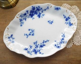 Flow Blue China Platter W H Grindley Rose Pattern