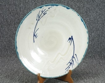 "Vintage Decorative Footed Stoneware Bowl 13 1/8"" Signed By Artist Matt Wert 1990"
