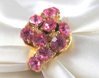 Vintage Pink Rhinestone Adjustable Cluster Ring