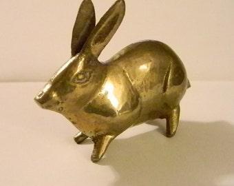 Small Solid Brass Rabbit Hare Statue Home Decor