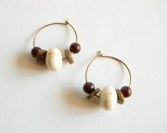 Copper Tone Wire Round Hoop Beaded Pierced Earrings