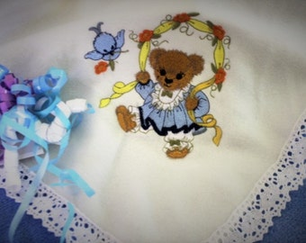 Baby Blanket Embroidered  with Cotton Lace Edging