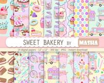 "Sweet digital paper: ""SWEET BAKERY digital papers"" cupcake pattern, ice cream pattern, candy pattern, 14 images, 300 dpi. JPG files"