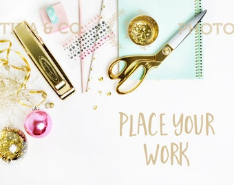 Gold stapler and gold scissors   White desktop and glamour items   Styled stock photography   Xmas   Product photography