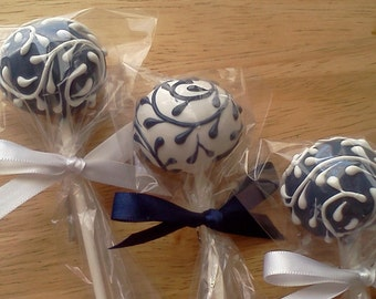 Navy Blue and White Floral Swirl Cake Pops, 1 Dozen