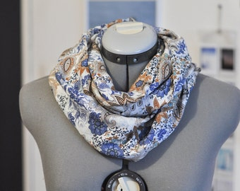 Infinity scarf, white blue and brown