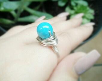 Turquoise Silver Ring- Turquoise Ring -Turquoise Jewelry- Turquoise Silver Jewellery- Silver Turquoise Ring- Silver Gemstone Ring- Gemstone