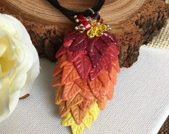 Feather Pendant - Clay Pendant - Phoenix Feather - Silver Pendant - Phoenix Necklace