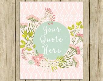 Custom quote Wildflowers personalised woodland floral print pink printable wall art words lyrics modern room decor custom name gift nursery