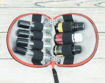 Mens Essential Oil Case / Essential Oil Bag - Black Denim- pil proof interior - Holds 7 - Custom order