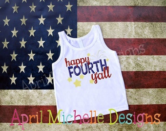 Girls 4th of July Embroidered Shirt, Personalized July Fourth Patriotic Shirt, Happy Fourth Yall, Girls Holiday Shirt, Red, White and Blue
