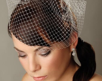 "Birdcage veil 10"" Short white veil Bridal veil White Fascinator Veil French netting veil Russian netting veil Wedding Fascinator Bridal veil"