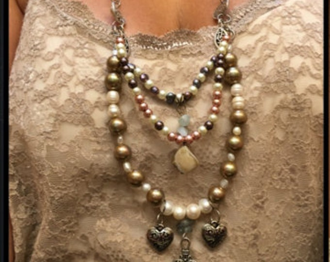 Bohemian Elegance/Freshwater Pearl /South Sea Pearl Necklace/Debuting On Sale for 175.00 for a limited time only. Regularly Priced 250.00