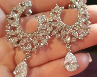 New Clear CZ A+++ Crystal & Rhinestone Chandelier 2 3/4'' Pierced Earring
