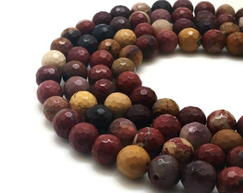 8mm Natural Mookaite Beads Faceted Round 8mm Mookaite 8mm Faceted Mookaite Faceted Gemstone Faceted Stone Faceted Mala Faceted Beads