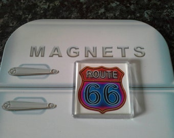 Route 66 Neon Sign Fridge Magnet. Americana, The Mother Road. USA