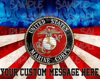 US MARINES Edible Image 1/4 Quarter Sugar Sheet Cake Topper PERSONALIZED