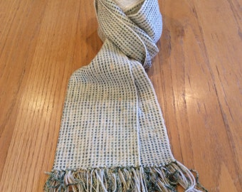 Cream and sage green chenille and wool scarf